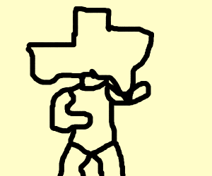 A baby in a onesie with Texas for a head