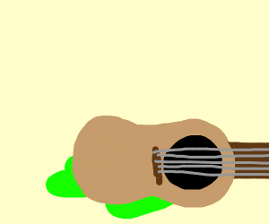 Someone left their guitar on a green blob.