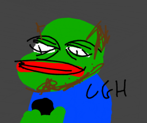 "pepe with goatee saying ""ugh"" at phone"