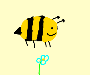a really fat bee flying over a tiny li flower