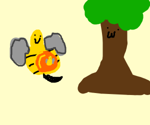 A pregnant bee/ant, weird tree taking to her