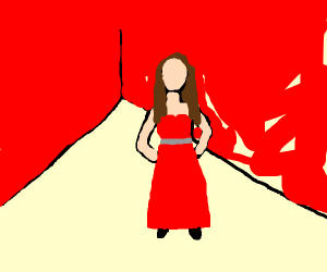 red room, red dress, brown hair