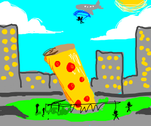 Skydiver goes to tower of Pizza