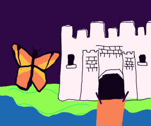 a butterfly looks at a castle