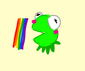 kermit about to eat a rainbow strip