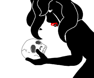 women looks at skull sad cuz thats her fam