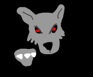 Evil grey wolf with red eyes and sharp claws