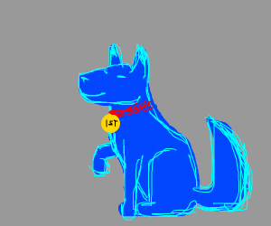 blue dog with medal
