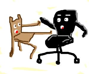 Chairs doing karate