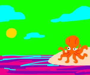 octopus on a beach with green sky + pink sea