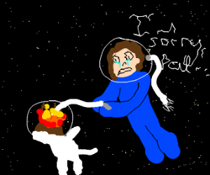 Blue person burning a floating dog
