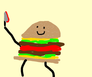 Burger with bloody knife