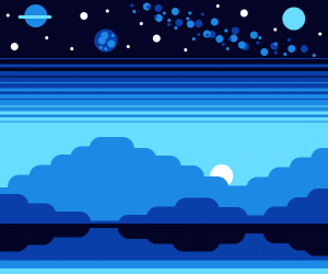A moonlit mountainside pond