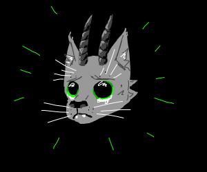 Sad cat with horns