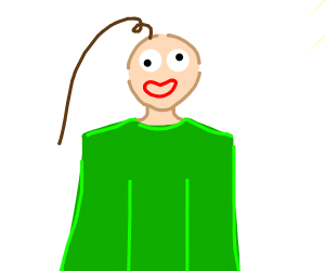Baldi with one long piece of hair