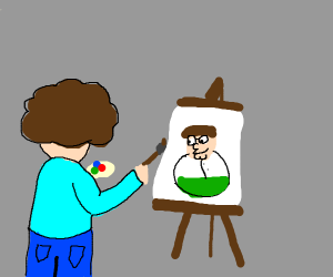someone is painting Peter Griffin