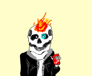 Off brand Sans with a flaming forehead