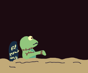 Zombie Kermit Rises from the Grave