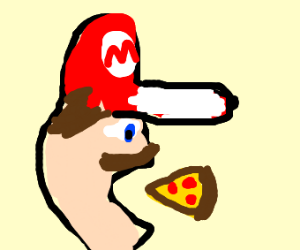 Mario eating pizza