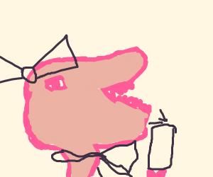 Pink T-Rexes take a goofy selfie