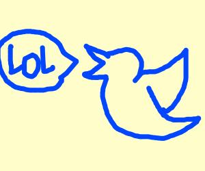 Twitter bird quacking and saying lol