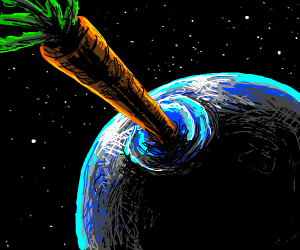 Giant carrot crashing into earth