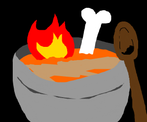 A flaming bone broth