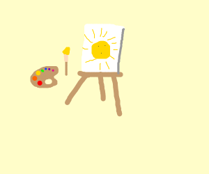 A painting of a sun