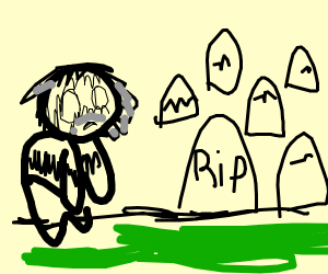 Homeless looking at the cementery