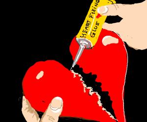 using glue to fix a broken heart