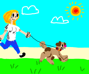 girl walks her dog in the park