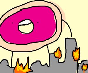 a tall donut obliterates society