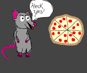 Determined mouse in clothes sees pizza.