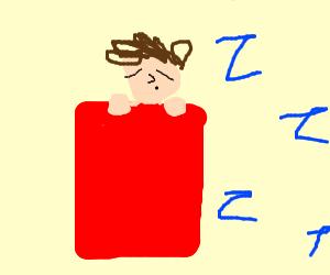 sleeping in red blanket
