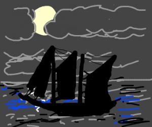ship sailing at night
