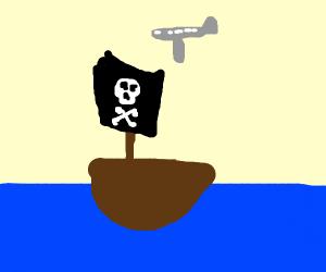 plane over a pirate ship