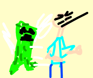 minecraft creeper about to explode near steve