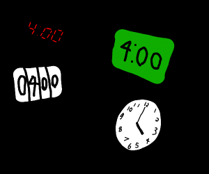 4 clocks tell us it's 4 o'clock