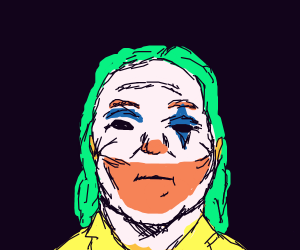 the joker but chubby and middle aged