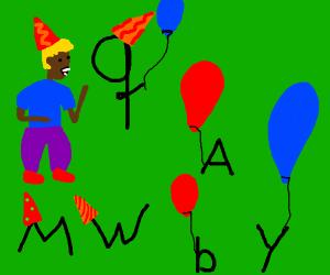 man at alphabet party