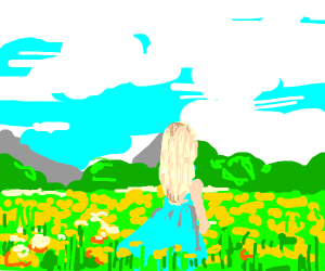beautiful scenery of a girl in a field