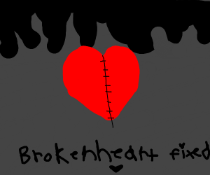 broken heart is fixed! :)