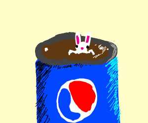 Bunny swimmimg in Pepsi