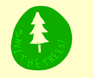 """A very green """"Save the Trees"""" decal."""