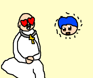 Priest in love with floating bluehaired head