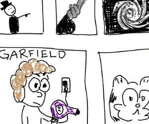 Jon (Garfield) maliciously holding blowdryer