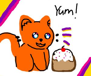 Cat eating cake