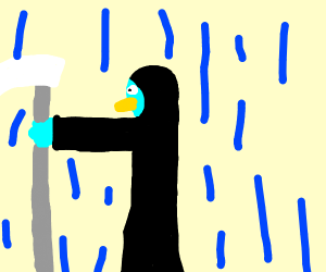 Blue bird in reaper costume in the rain