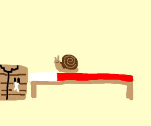 Snail on a minecraft bed