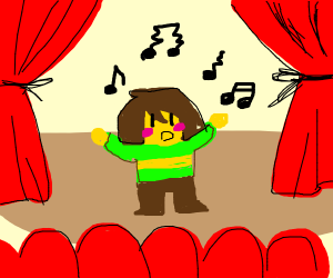 chara tries to stand on a stage and sing